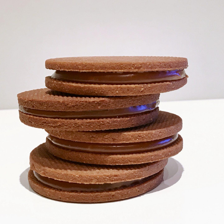 Chocolate sablé cookies & salted caramel ganache